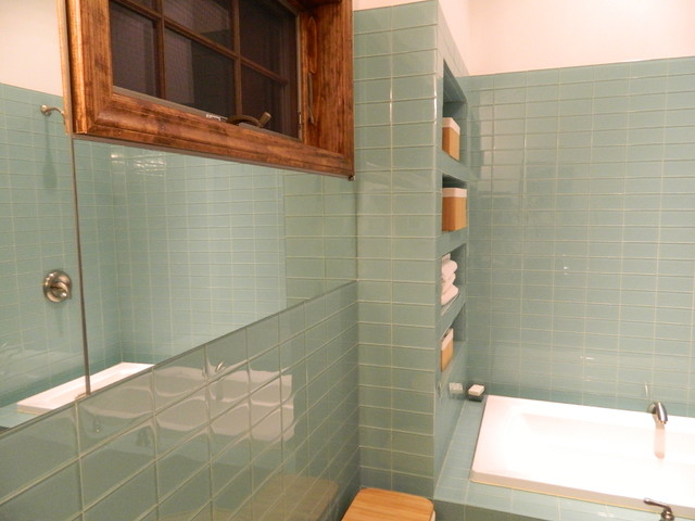 Sage Green Glass Tile Shower Contemporary Bathroom