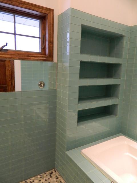 Sage Green Bathroom: Sage Green Glass Tile Shower