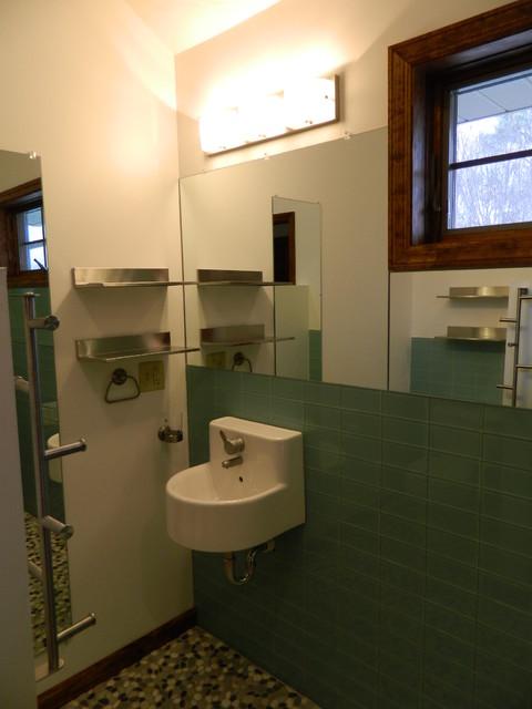 Sage Green Glass Tile Shower Contemporary Bathroom