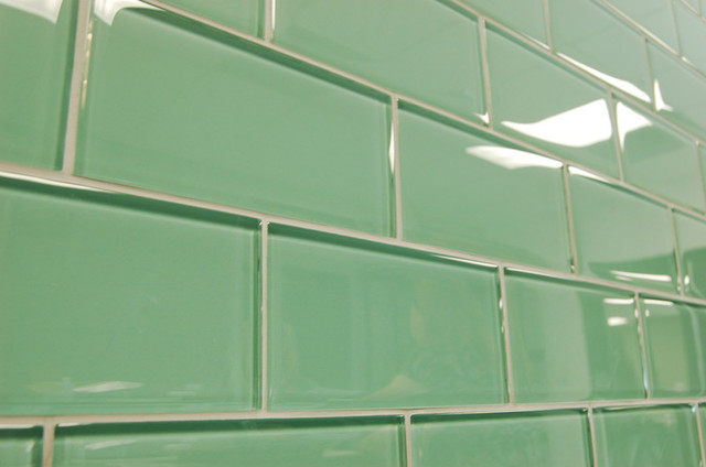 Sage Green Subway Glass Tiles Modern Bathroom