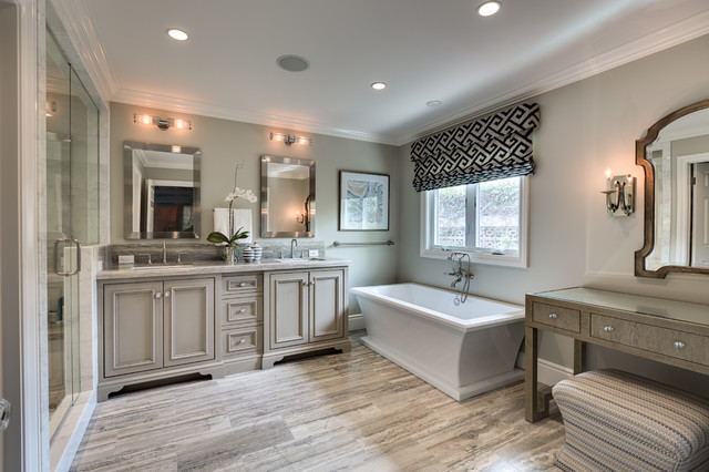 Mid Sized Transitional Master Gray Tile And Marble Tile Light Wood Floor  And Beige Floor