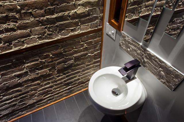 salle de bain en pin lamin appareils encrages muraux contemporary bathroom. Black Bedroom Furniture Sets. Home Design Ideas