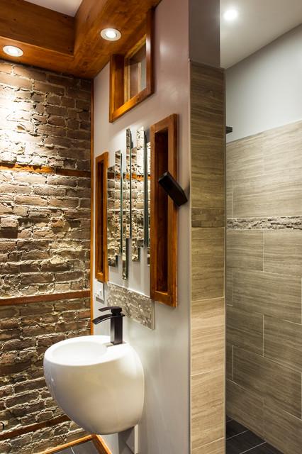 salle de bain en pin lamin appareils encrages muraux contemporary bathroom montreal. Black Bedroom Furniture Sets. Home Design Ideas