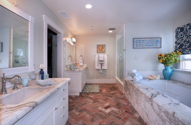 excellent orange bathroom floor | San Clemente Remodel - Beach Style - Bathroom - Orange ...