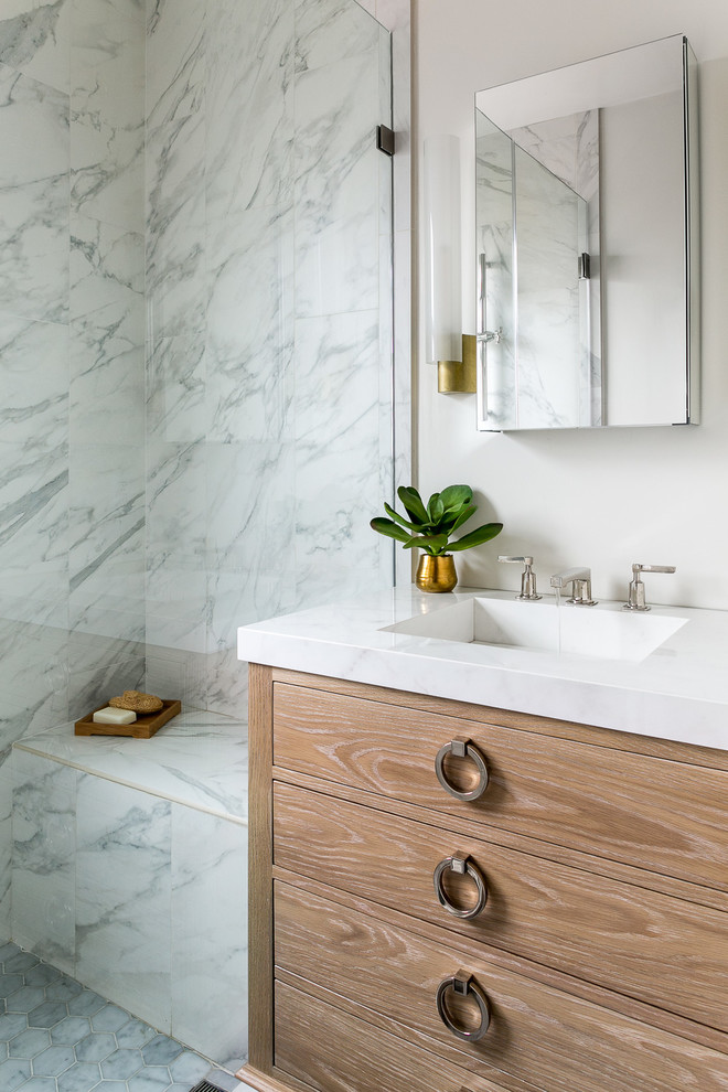 Bathroom - contemporary 3/4 white tile mosaic tile floor and gray floor bathroom idea in San Francisco with furniture-like cabinets, medium tone wood cabinets, white walls and an integrated sink