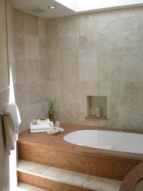 San francisco limestone and travertine bathroom closet for Limestone tub