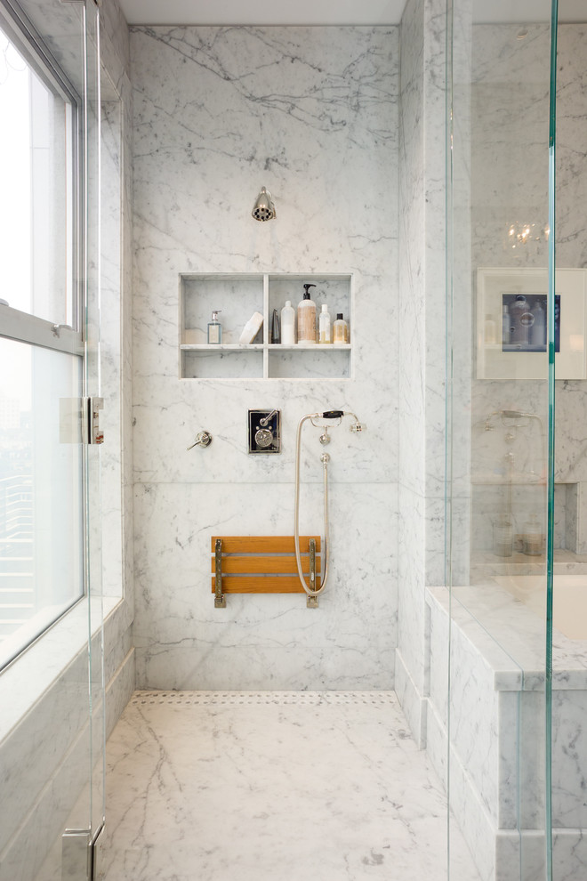 Inspiration for a mid-sized transitional master bathroom remodel in San Francisco with an undermount tub, gray walls, an undermount sink, marble countertops, a hinged shower door and a niche