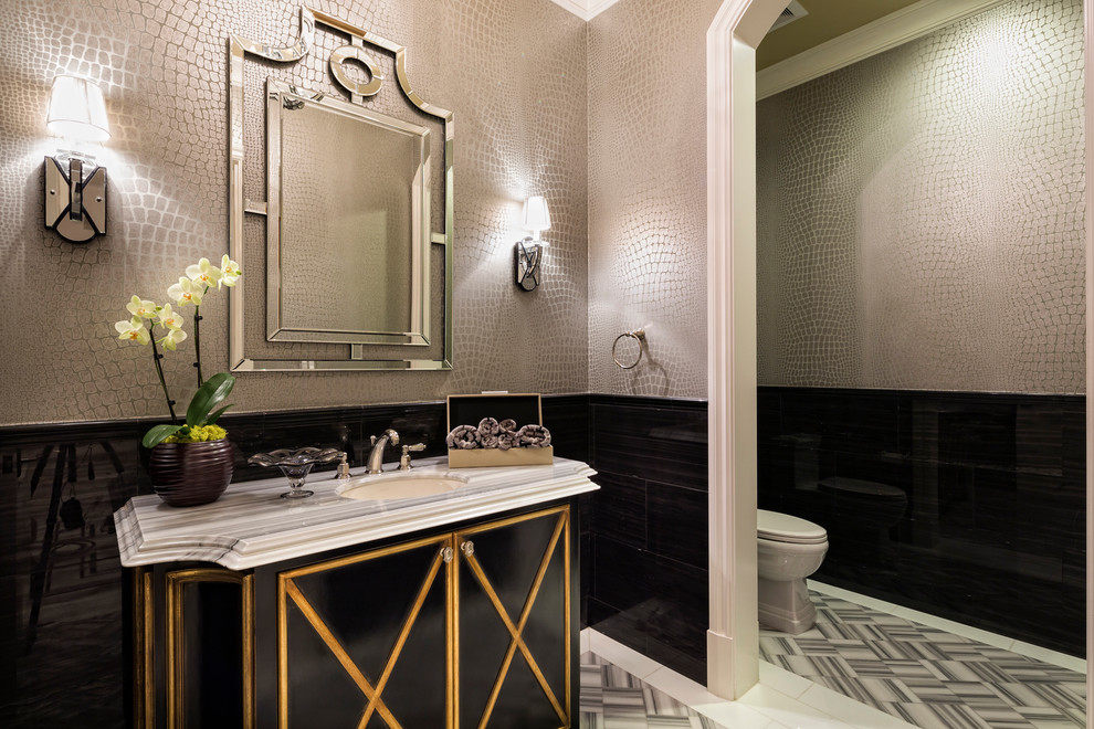 Example of a tuscan black tile bathroom design in Los Angeles with an undermount sink, furniture-like cabinets, black cabinets and gray walls