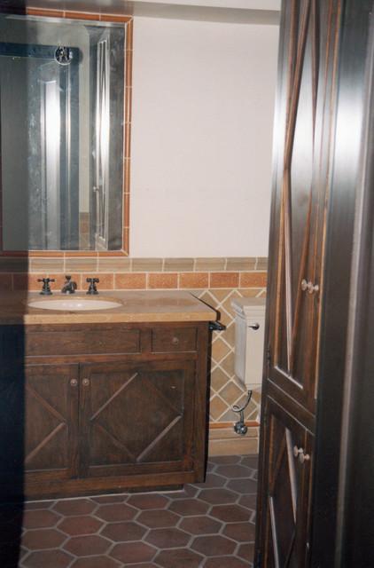 San Rafael Avenue Bathroom and Fireplace Tile Remodel mediterranean-bathroom