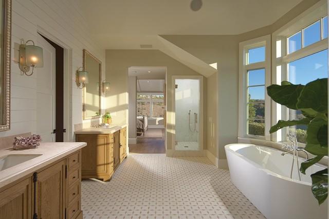 Bathroom - beach style bathroom idea in Orange County with an undermount sink and light wood cabinets