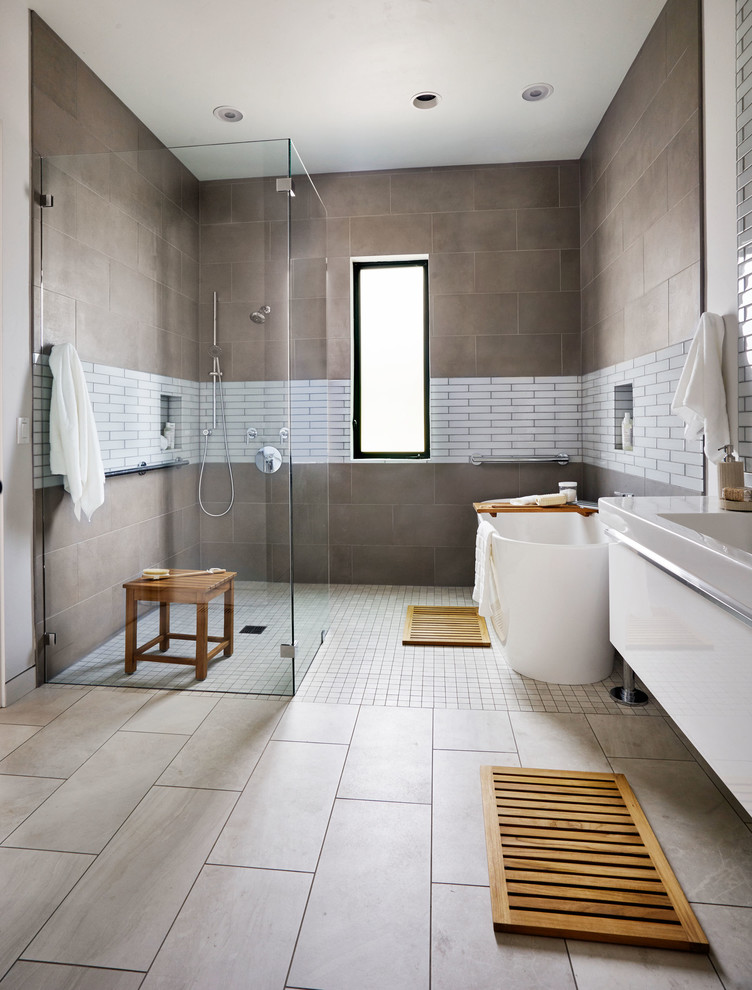 Bathroom - contemporary master bathroom idea in Portland with an integrated sink, flat-panel cabinets and white cabinets