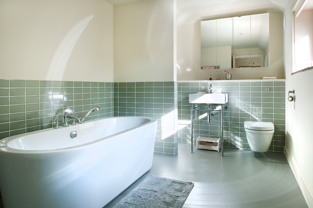 Sandy down refurbishment contemporary bathroom - How to put down tile in bathroom ...