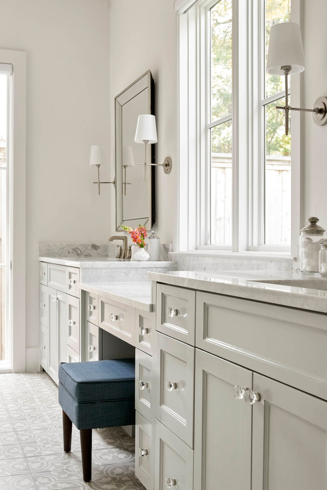 Inspiration for a cottage master multicolored floor bathroom remodel in Dallas with recessed-panel cabinets, white cabinets and white walls