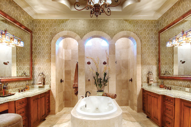 "Mediterranean Style Luxury Bathrooms: Sater Design Collection's 6959 ""Valdivia"" Home Plan"