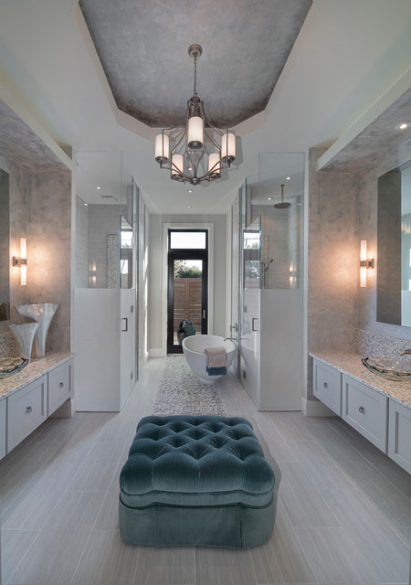 Sater Design Collectionu0027s Moderno House Plan Transitional Bathroom