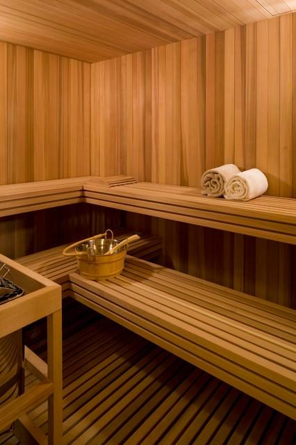 Example of a transitional sauna design in Denver