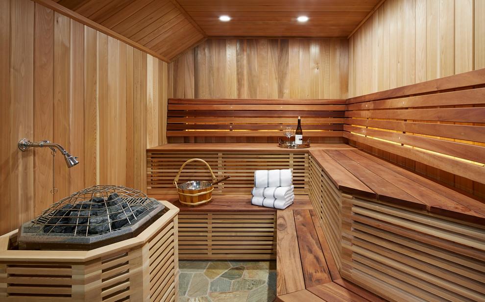 Large elegant slate floor and multicolored floor sauna photo in Minneapolis with wood countertops