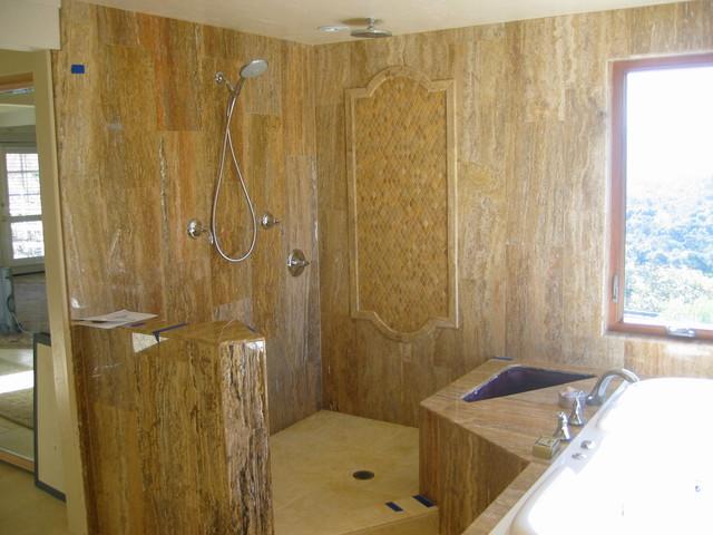 Scabos Travertine Vein Cut And Dorado Limestone Bathroom