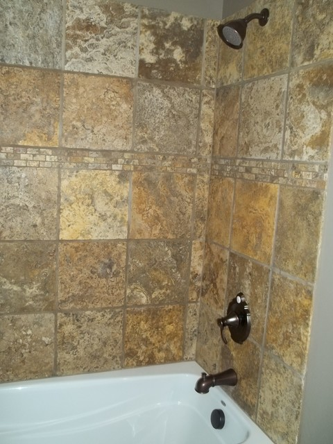 Scabos tumbled travertine bathroom remodel project for Tumbled marble bathroom designs