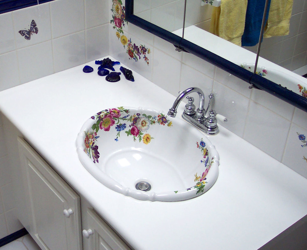 Scented Garden Design Painted on Fluted Sink - Traditional ...