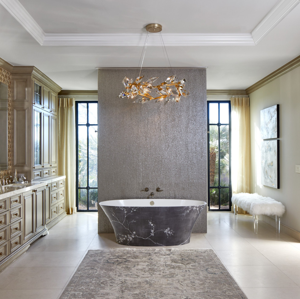Huge transitional master gray tile porcelain tile, beige floor and double-sink freestanding bathtub photo in Phoenix with raised-panel cabinets, beige cabinets, beige walls, an undermount sink, beige countertops and a built-in vanity