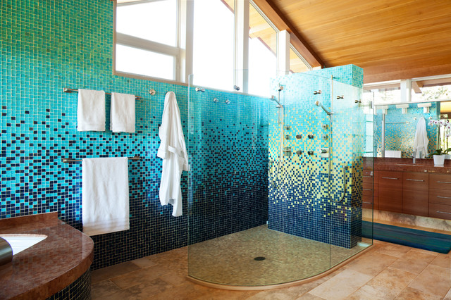 Inspiration for a large contemporary master blue tile and mosaic tile limestone floor double shower remodel in Denver with an undermount sink, flat-panel cabinets, medium tone wood cabinets, an undermount tub, multicolored walls and brown countertops
