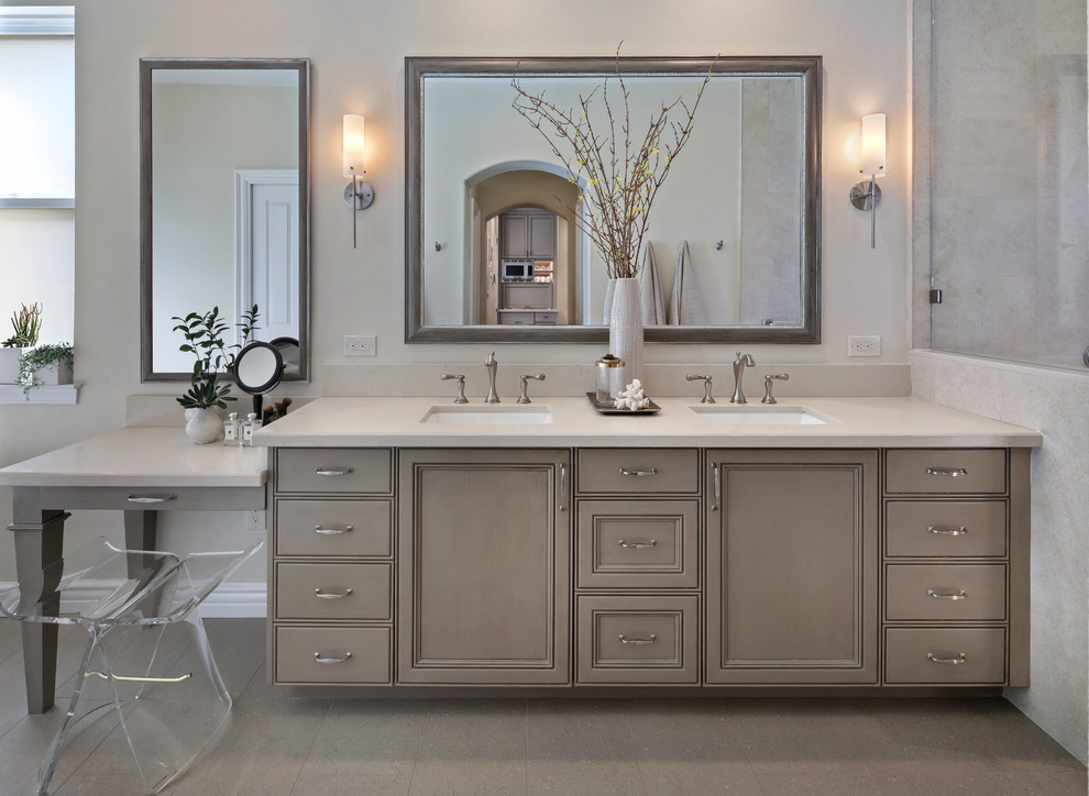Mid-sized transitional master ceramic tile bathroom photo in Orange County with recessed-panel cabinets, gray cabinets, beige walls, a drop-in sink and quartz countertops