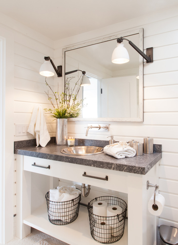 Example of a mid-sized beach style 3/4 white tile mosaic tile floor and white floor bathroom design in Orange County with a drop-in sink, open cabinets, white cabinets, white walls, quartz countertops and gray countertops