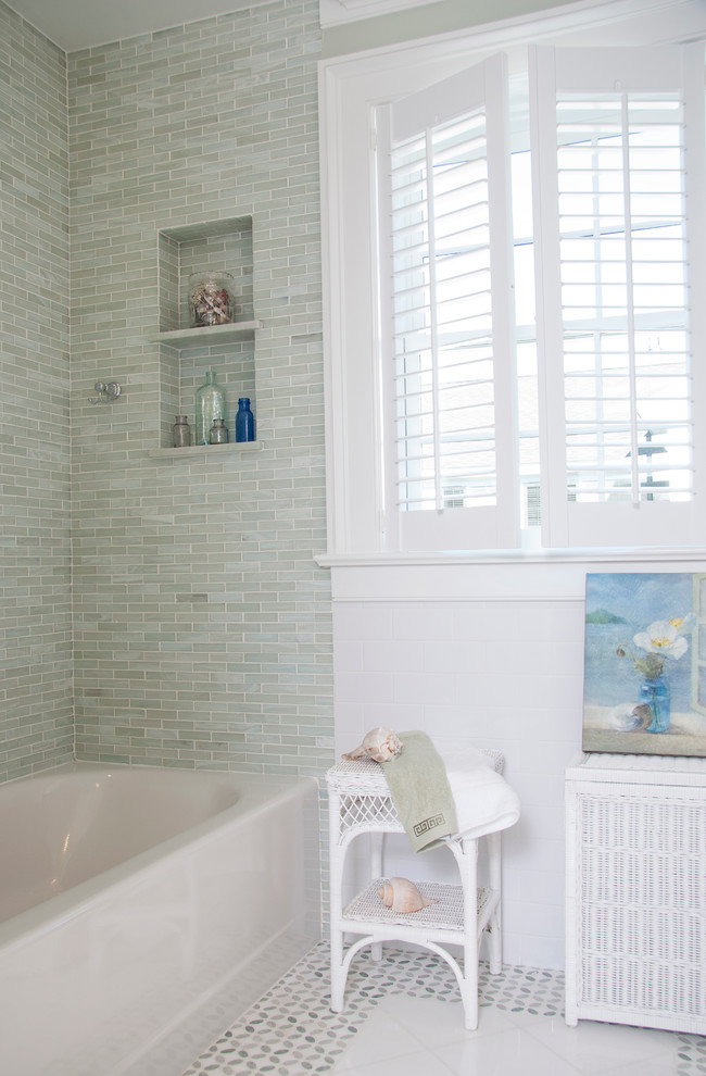 Beach style green tile and stone tile bathroom photo in Boston with a two-piece toilet
