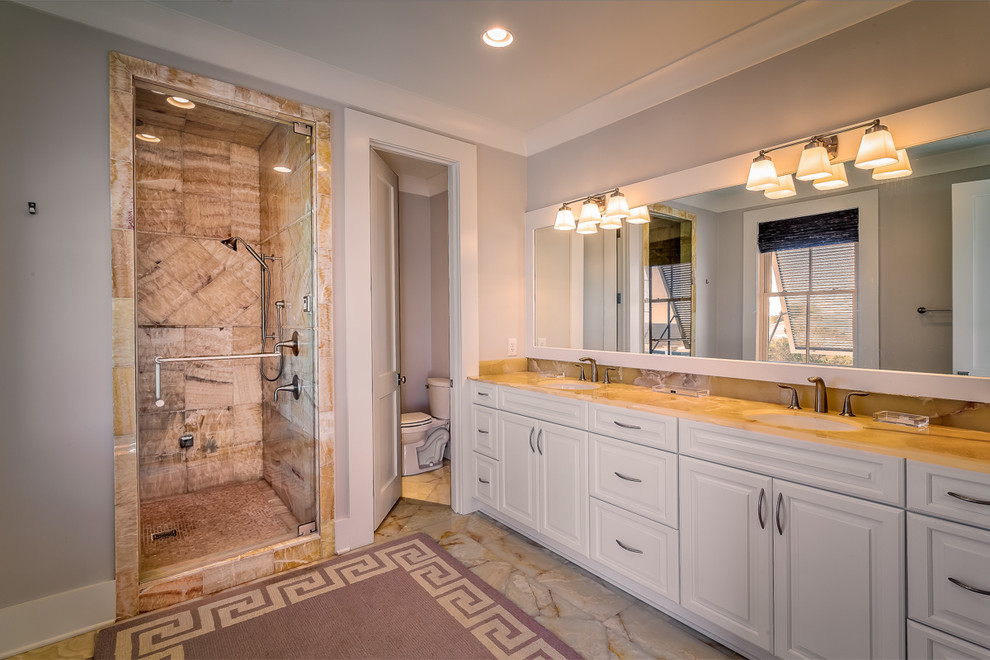 Seahorse Litchfield Vacation Home New Construction Transitional Bathroom Charleston By Elizabeth Taylor Satterfield Interior Design Inc