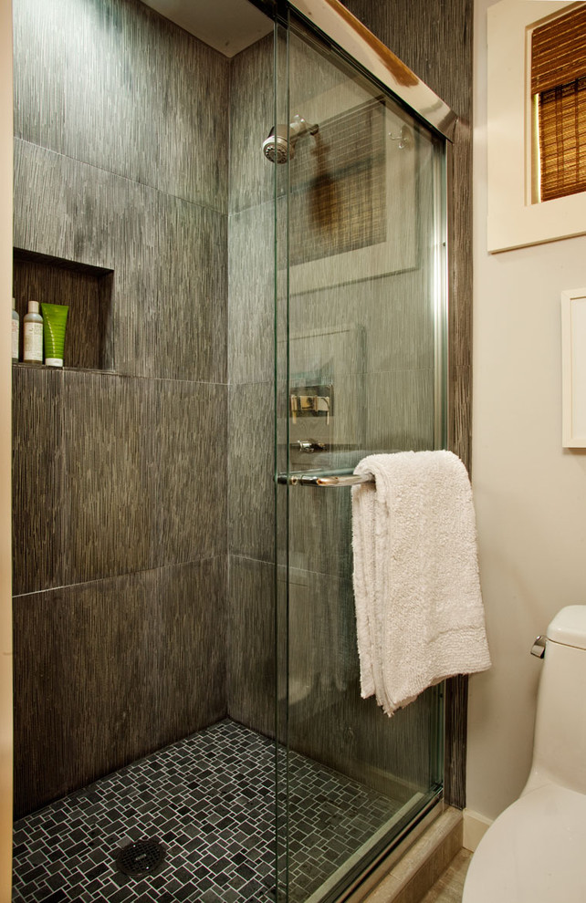 Inspiration for a coastal alcove shower remodel in Portland