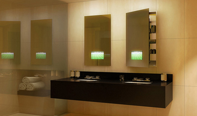 Seamless Lighted Recessed Medicine Cabinet By Electric Mirror Contemporary Bathroom