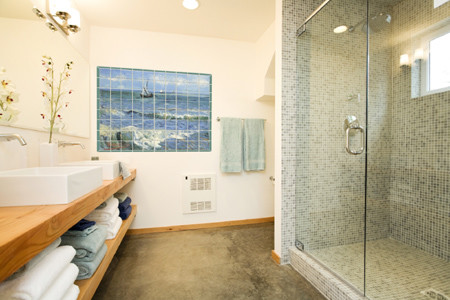 Superb Seascape Tile Mural In Coastal Bathroom Design Contemporary Bathroom