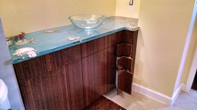 Seascape vanity top with coconut palm cabinetry beach for Seascape bathroom ideas