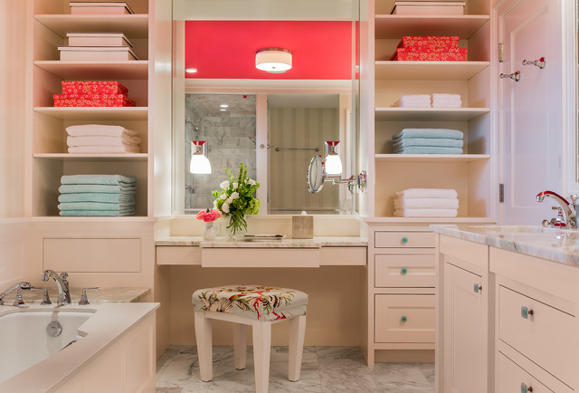 Example of a transitional master bathroom design in Boston with an undermount sink, recessed-panel cabinets, beige cabinets and an undermount tub