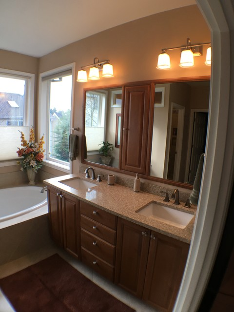 Seattle Full Bathroom Remodel Double Vanity Drop In Bath