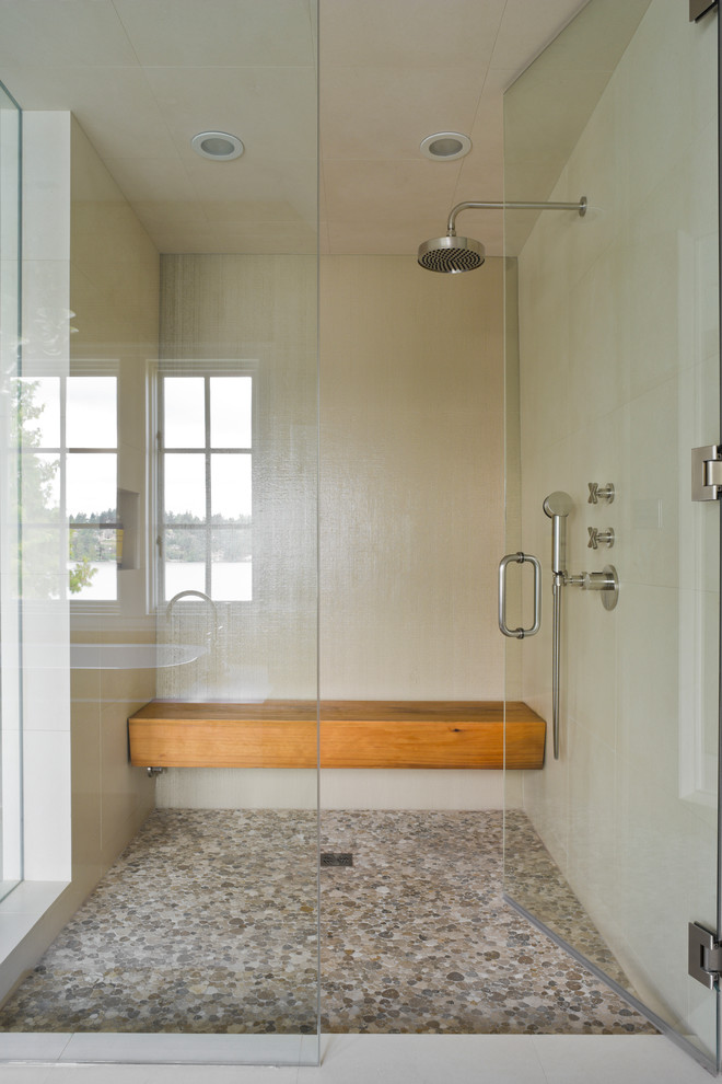 Inspiration for a transitional mosaic tile shower bench remodel in New York
