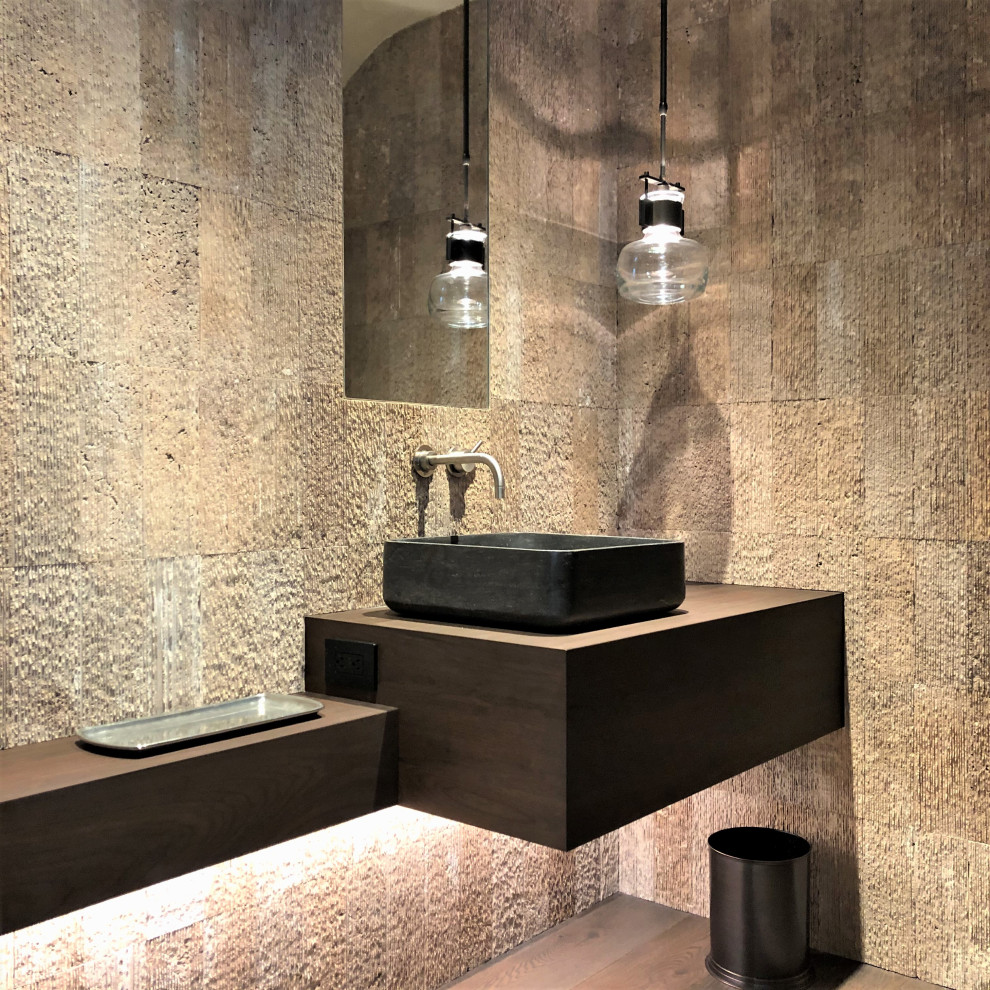 Bathroom - small contemporary 3/4 beige tile medium tone wood floor, brown floor and single-sink bathroom idea in Other with flat-panel cabinets, dark wood cabinets, beige walls, a vessel sink, wood countertops, brown countertops and a floating vanity