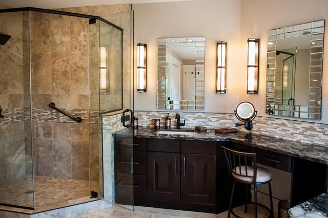 Second floor renovation transitional bathroom for Bathroom decor edmonton
