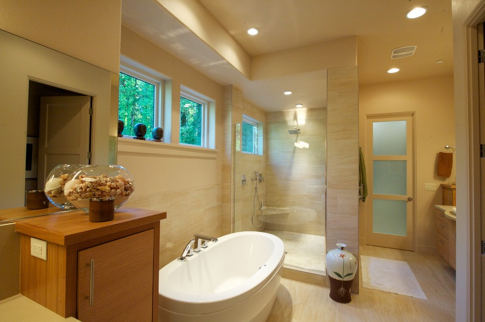 Bathroom - contemporary beige tile bathroom idea in Portland with flat-panel cabinets and medium tone wood cabinets