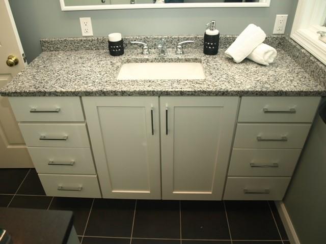 semi custom vanity - white shaker doors with granite top