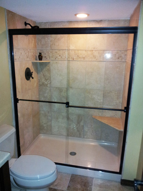 Semi Frameless Bypass Sliding Shower Doors Traditional