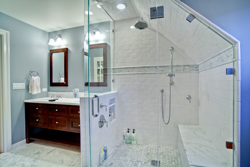 Adventures of d and v adventures in the basement for Houzz bathrooms traditional