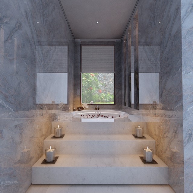 Sensual private bath for two modern bathroom other for Bathroom design 7 x 10