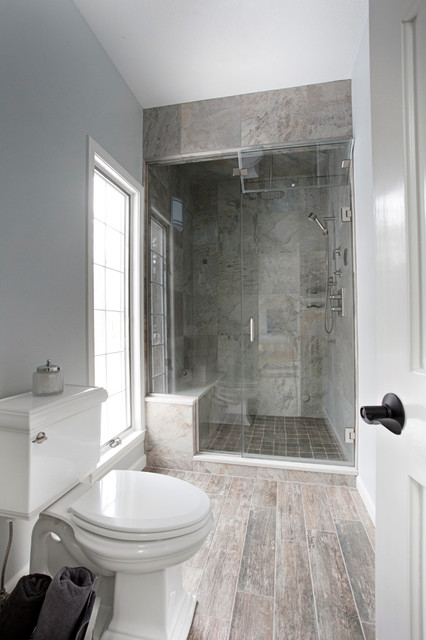 Separate shower and toilet room - Contemporary - Bathroom ...