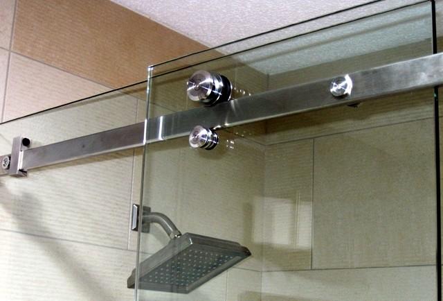 Serenity frameless sliding shower door modern bathroom for Bathtub shower doors hardware