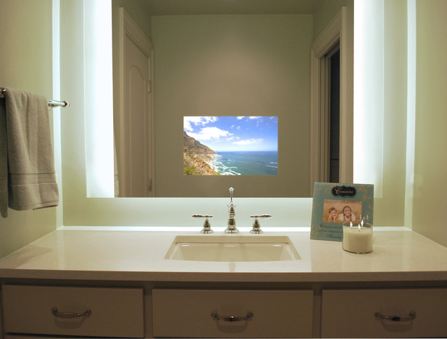 Sura Illuminated Television Mirror Contemporary Bathroom