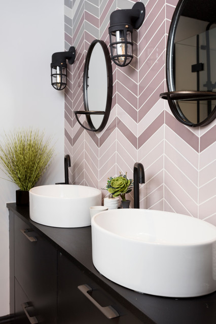 Bathroom - contemporary pink tile bathroom idea in Other with a vessel sink, flat-panel cabinets, black cabinets and black countertops