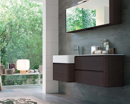 Seventy Collection by Idea Group - My Seventy Plus is a uniquely crafted collection with a streamlined style to allow a range of modularity.  The gentle shapes and rounded ergonomic designs compliment many styles. My Seventy Plus has an exclusive variety of gable side profiles to complete the composition. Various finishing options are available in wood veneers, and lacquered glossy and matte finishes. Seventy Plus collection includes mirrors, tops, sinks, storage mirrors, shelves, wall units and tall wall units.