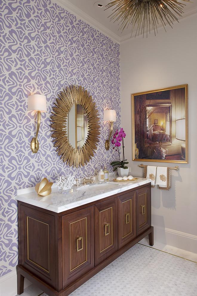Bathroom - contemporary mosaic tile bathroom idea in San Francisco with purple walls